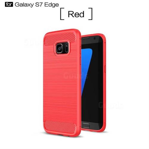 Luxury Carbon Fiber Brushed Wire Drawing Silicone TPU Back Cover for Samsung Galaxy S7 Edge s7edge (Red)