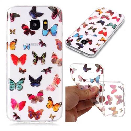 Colorful Butterfly Super Clear Soft TPU Back Cover for Samsung Galaxy S7 Edge s7edge