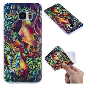 Butterfly Kiss 3D Relief Matte Soft TPU Back Cover for Samsung Galaxy S7 Edge s7edge