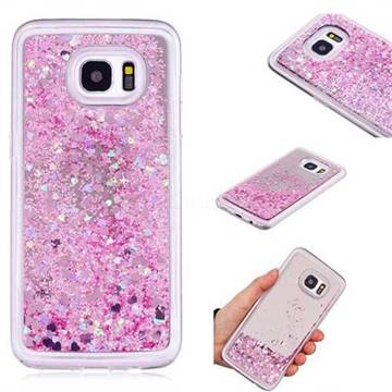 Glitter Sand Mirror Quicksand Dynamic Liquid Star TPU Case for Samsung Galaxy S7 Edge s7edge - Cherry Pink