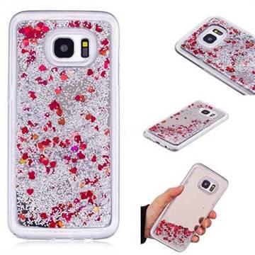 Glitter Sand Mirror Quicksand Dynamic Liquid Star TPU Case for Samsung Galaxy S7 Edge s7edge - Red