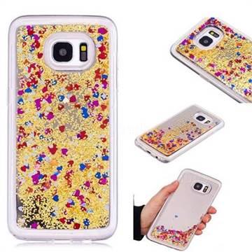 Glitter Sand Mirror Quicksand Dynamic Liquid Star TPU Case for Samsung Galaxy S7 Edge s7edge - Yellow