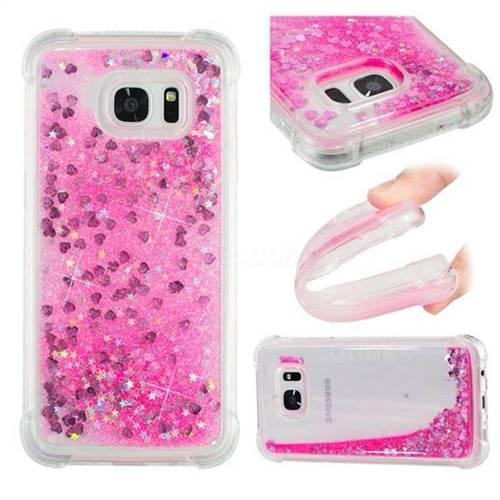 Dynamic Liquid Glitter Sand Quicksand TPU Case for Samsung Galaxy S7 Edge s7edge - Pink Love Heart