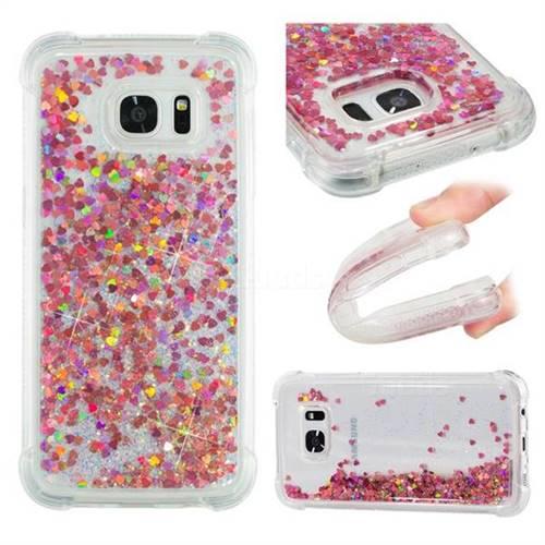 Dynamic Liquid Glitter Sand Quicksand TPU Case for Samsung Galaxy S7 Edge s7edge - Rose Gold Love Heart