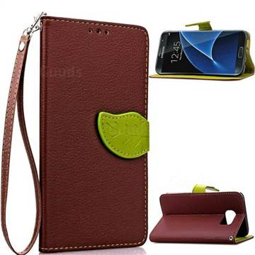 Leaf Buckle Litchi Leather Wallet Phone Case for Samsung Galaxy S7 Edge - Brown