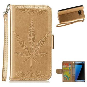 Intricate Embossing Maple Leather Wallet Case for Samsung Galaxy S7 Edge s7edge - Champagne