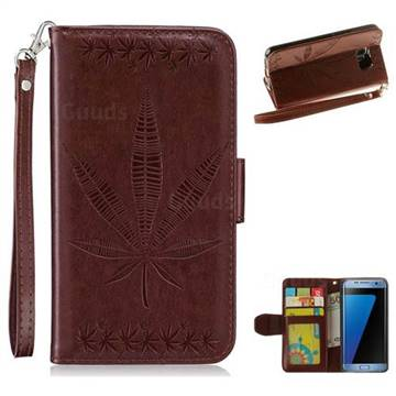 Intricate Embossing Maple Leather Wallet Case for Samsung Galaxy S7 Edge s7edge - Brown