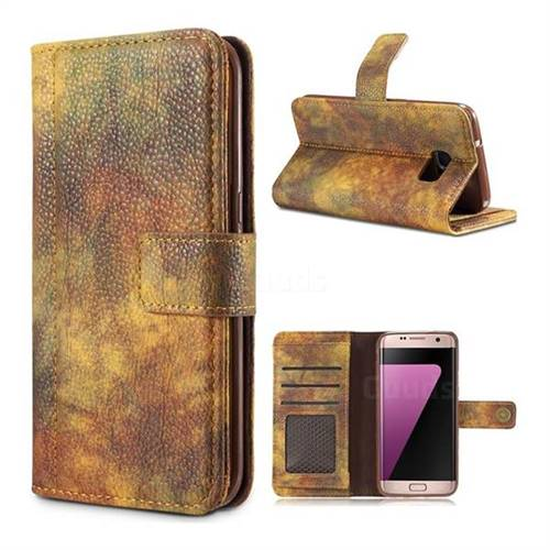 Luxury Retro Forest Series Leather Wallet Case for Samsung Galaxy S7 Edge s7edge - Yellow