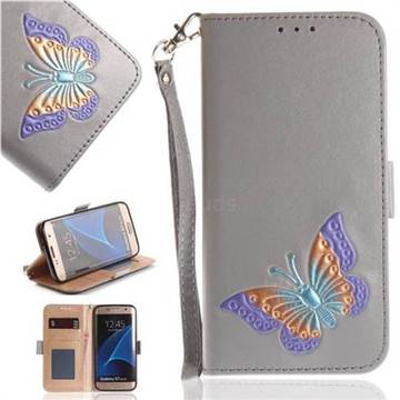 Imprint Embossing Butterfly Leather Wallet Case for Samsung Galaxy S7 Edge s7edge - Grey