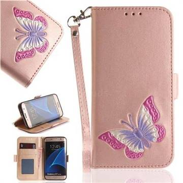 Imprint Embossing Butterfly Leather Wallet Case for Samsung Galaxy S7 Edge s7edge - Rose Gold