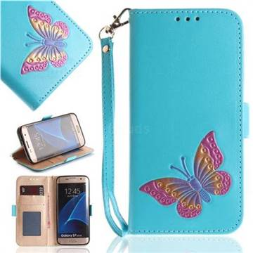 Imprint Embossing Butterfly Leather Wallet Case for Samsung Galaxy S7 Edge s7edge - Sky Blue