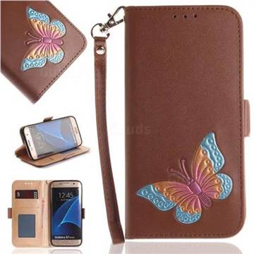 Imprint Embossing Butterfly Leather Wallet Case for Samsung Galaxy S7 Edge s7edge - Brown