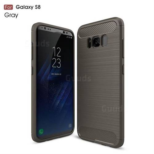 Luxury Carbon Fiber Brushed Wire Drawing Silicone TPU Back Cover for Samsung Galaxy S8 (Gray)