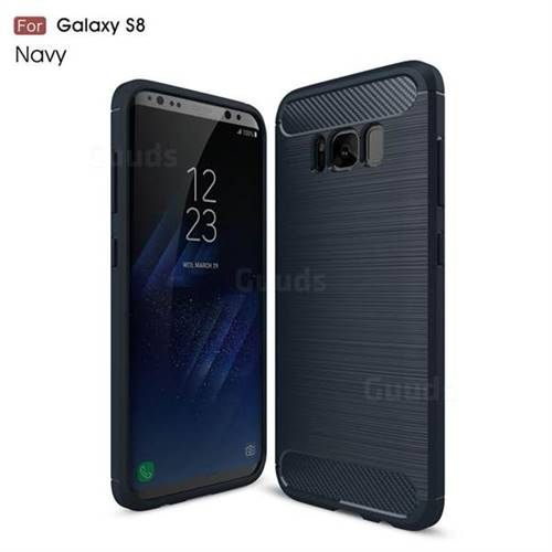 Luxury Carbon Fiber Brushed Wire Drawing Silicone TPU Back Cover for Samsung Galaxy S8 (Navy)
