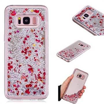 Glitter Sand Mirror Quicksand Dynamic Liquid Star TPU Case for Samsung Galaxy S8 - Red