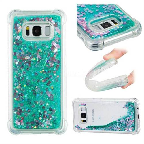 Dynamic Liquid Glitter Sand Quicksand TPU Case for Samsung Galaxy S8 - Green Love Heart