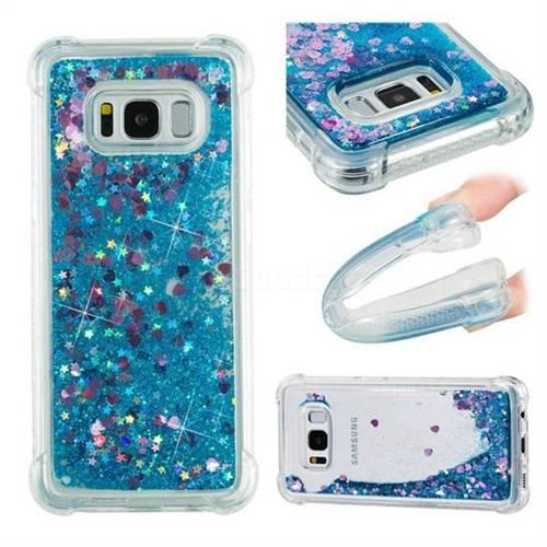 Dynamic Liquid Glitter Sand Quicksand TPU Case for Samsung Galaxy S8 - Blue Love Heart