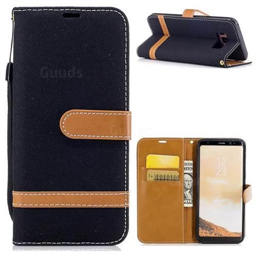 Jeans Cowboy Denim Leather Wallet Case for Samsung Galaxy S8 - Black