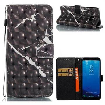 Black Marble 3D Painted Leather Wallet Case for Samsung Galaxy S8