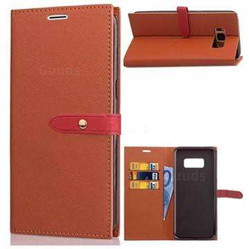 Luxury Fashion Korean PU Leather Wallet Case for Samsung Galaxy S8 - Brown