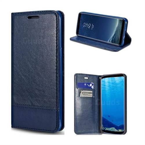 Magnetic Suck Stitching Slim Leather Wallet Case for Samsung Galaxy S8 - Sapphire