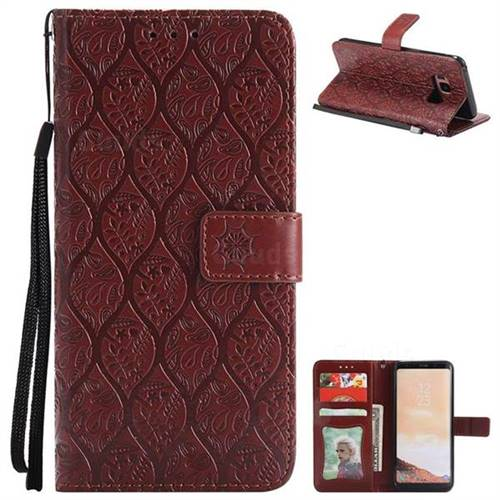 Intricate Embossing Rattan Flower Leather Wallet Case for Samsung Galaxy S8 - Brown