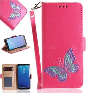 Imprint Embossing Butterfly Leather Wallet Case for Samsung Galaxy S8 - Rose Red