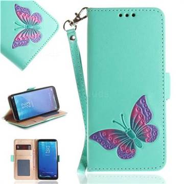 Imprint Embossing Butterfly Leather Wallet Case for Samsung Galaxy S8 - Mint Green