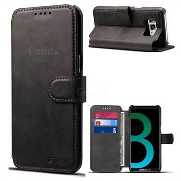 Calf Stripe Leather Wallet Flip Case for Samsung Galaxy S8 - Black