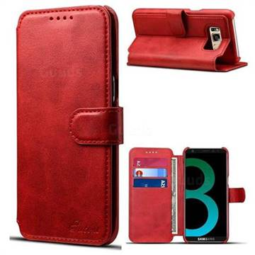 Suteni Calf Stripe Leather Wallet Flip Phone Case for Samsung Galaxy S8 - Red