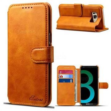 Calf Stripe Leather Wallet Flip Case for Samsung Galaxy S8 - Khaki