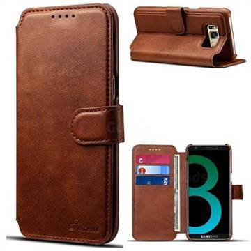 Suteni Calf Stripe Leather Wallet Flip Phone Case for Samsung Galaxy S8 - Brown