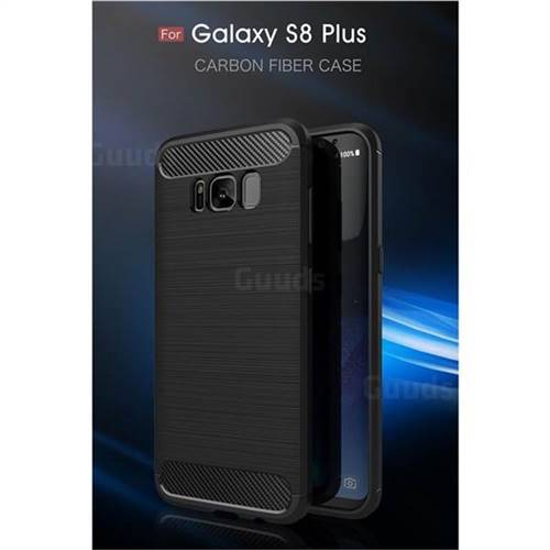 Luxury Carbon Fiber Brushed Wire Drawing Silicone TPU Back Cover for Samsung Galaxy S8 Plus S8+ (Black)