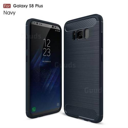 Luxury Carbon Fiber Brushed Wire Drawing Silicone TPU Back Cover for Samsung Galaxy S8 Plus S8+ (Navy)