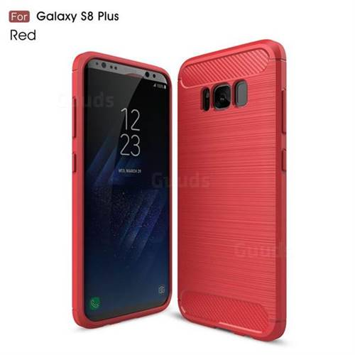 Luxury Carbon Fiber Brushed Wire Drawing Silicone TPU Back Cover for Samsung Galaxy S8 Plus S8+ (Red)