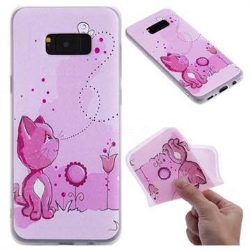 Cat and Bee 3D Relief Matte Soft TPU Back Cover for Samsung Galaxy S8 Plus S8+