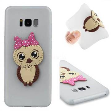 Bowknot Girl Owl Soft 3D Silicone Case for Samsung Galaxy S8 Plus S8+ - Translucent White