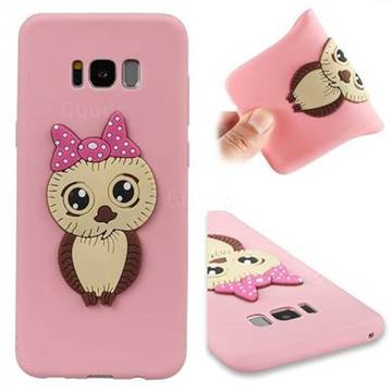 Bowknot Girl Owl Soft 3D Silicone Case for Samsung Galaxy S8 Plus S8+ - Pink