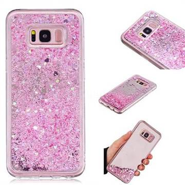 Glitter Sand Mirror Quicksand Dynamic Liquid Star TPU Case for Samsung Galaxy S8 Plus S8+ - Cherry Pink