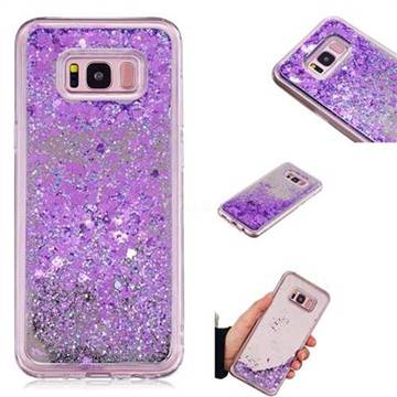 Glitter Sand Mirror Quicksand Dynamic Liquid Star TPU Case for Samsung Galaxy S8 Plus S8+ - Purple