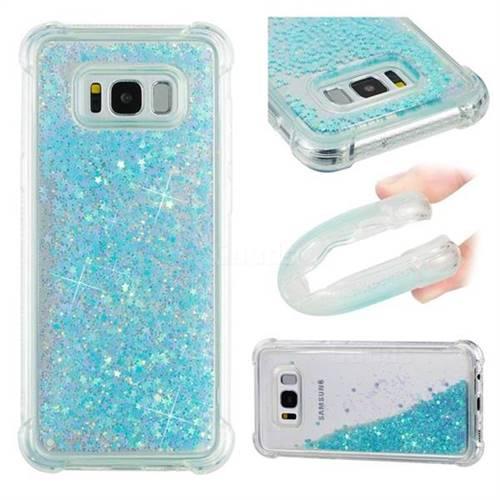 Dynamic Liquid Glitter Sand Quicksand TPU Case for Samsung Galaxy S8 Plus S8+ - Silver Blue Star