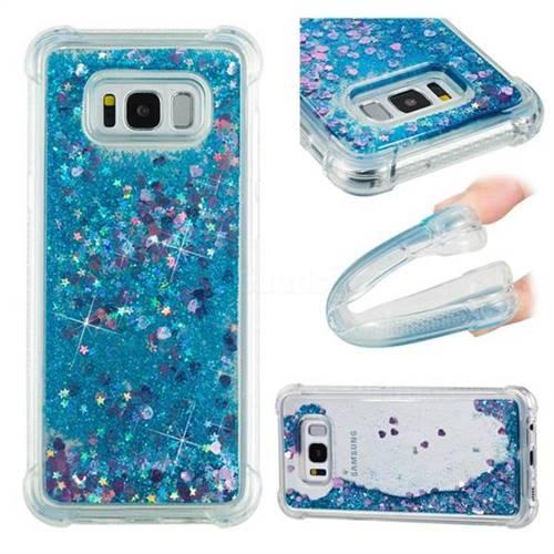 Dynamic Liquid Glitter Sand Quicksand TPU Case for Samsung Galaxy S8 Plus S8+ - Blue Love Heart