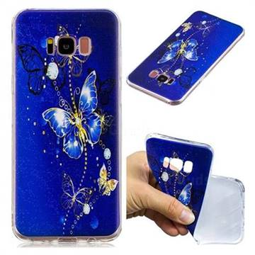 Gold and Blue Butterfly Super Clear Soft TPU Back Cover for Samsung Galaxy S8 Plus S8+