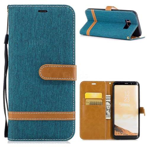 Jeans Cowboy Denim Leather Wallet Case for Samsung Galaxy S8 Plus S8+ - Green