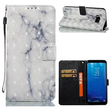 White Gray Marble 3D Painted Leather Wallet Case for Samsung Galaxy S8 Plus S8+