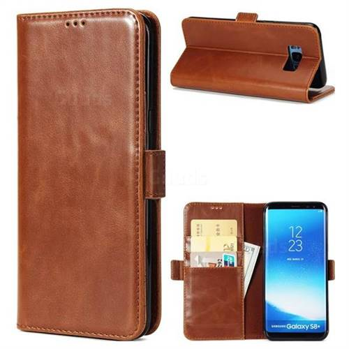 Luxury Crazy Horse PU Leather Wallet Case for Samsung Galaxy S8 Plus S8+ - Brown