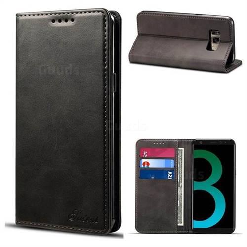 Suteni Simple Style Calf Stripe Leather Wallet Phone Case for Samsung Galaxy S8 Plus S8+ - Black