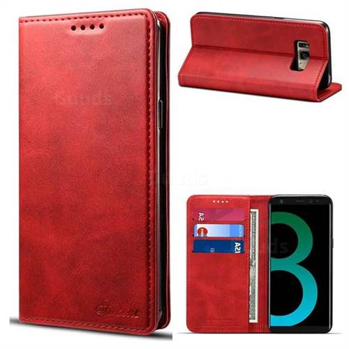 Suteni Simple Style Calf Stripe Leather Wallet Phone Case for Samsung Galaxy S8 Plus S8+ - Red