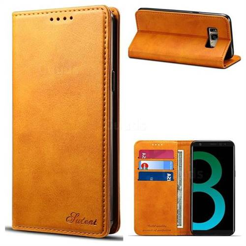 Suteni Simple Style Calf Stripe Leather Wallet Phone Case for Samsung Galaxy S8 Plus S8+ - Khaki