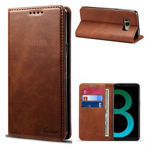 Simple Style Calf Stripe Leather Wallet Case for Samsung Galaxy S8 Plus S8+ - Brown